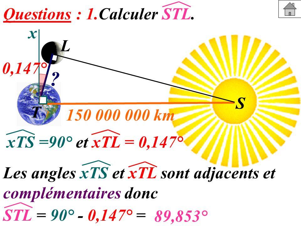 Questions : 1.Calculer STL. x L 0,147° T 150 000 000 km