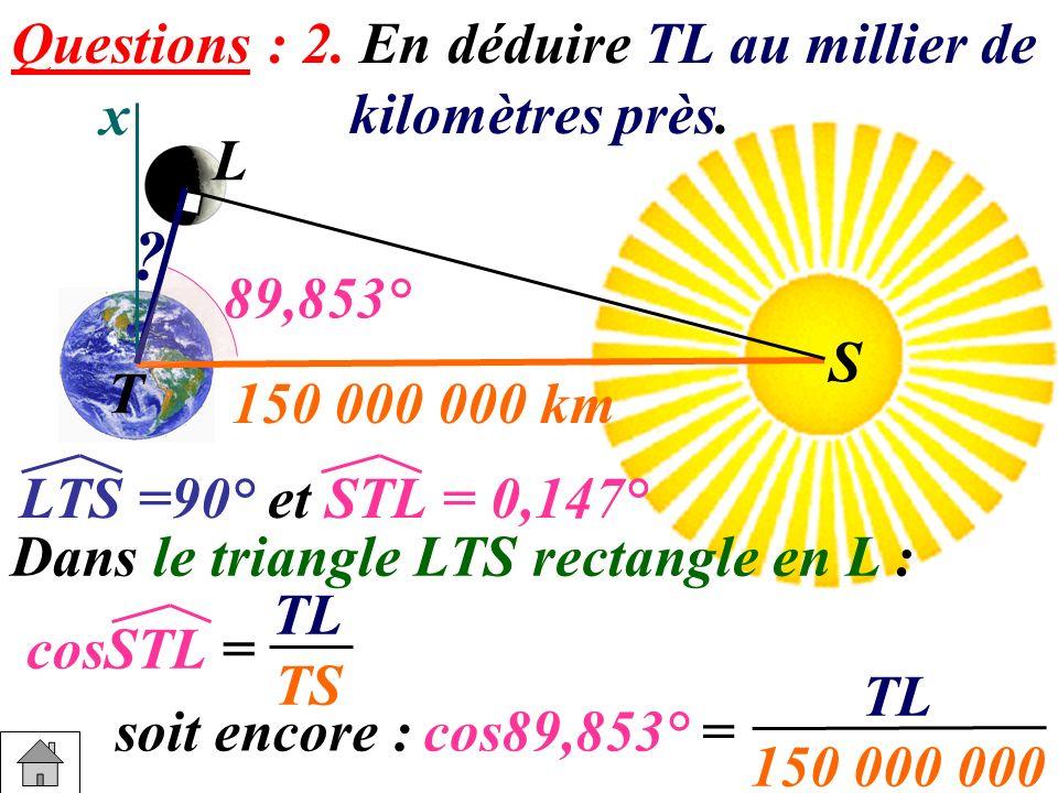 Questions : 2. En déduire TL au millier de kilomètres près. x L