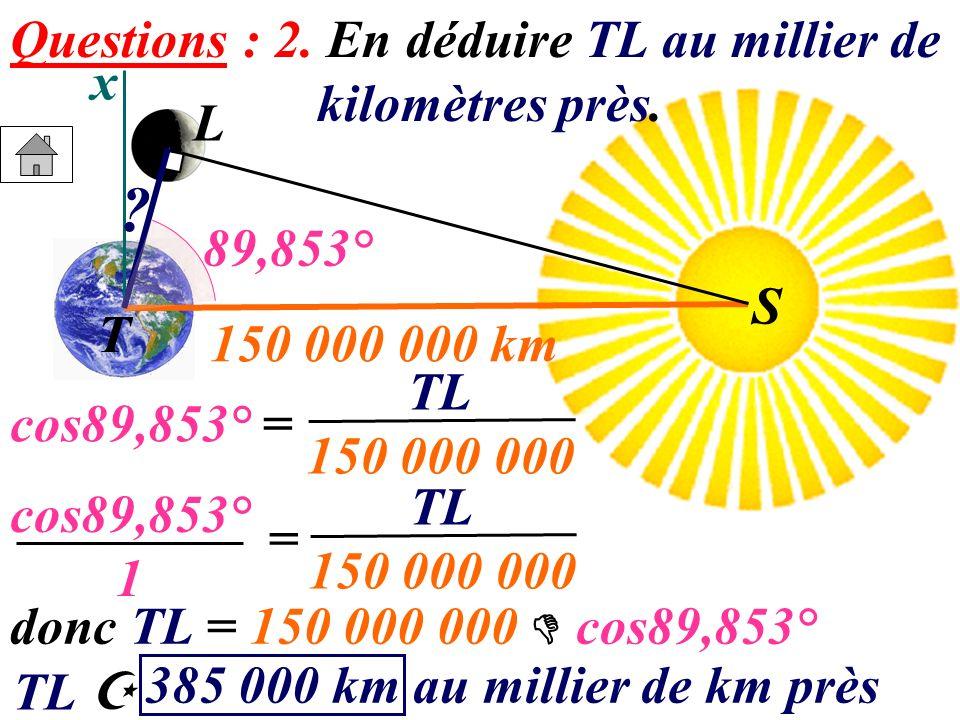 Questions : 2. En déduire TL au millier de kilomètres près. x T L