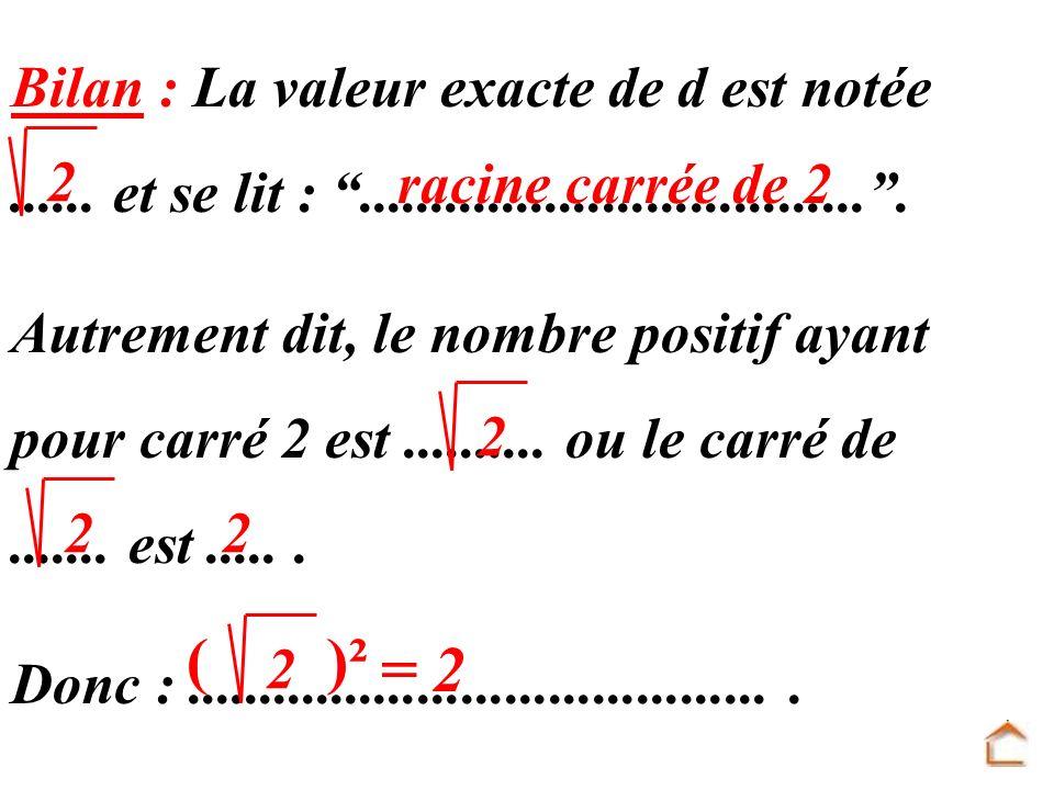 ( )² = 2 Bilan : La valeur exacte de d est notée