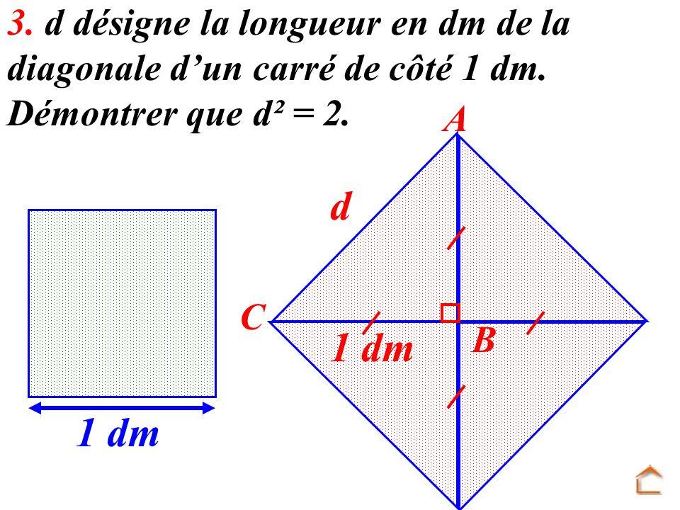 3. d désigne la longueur en dm de la diagonale d'un carré de côté 1 dm