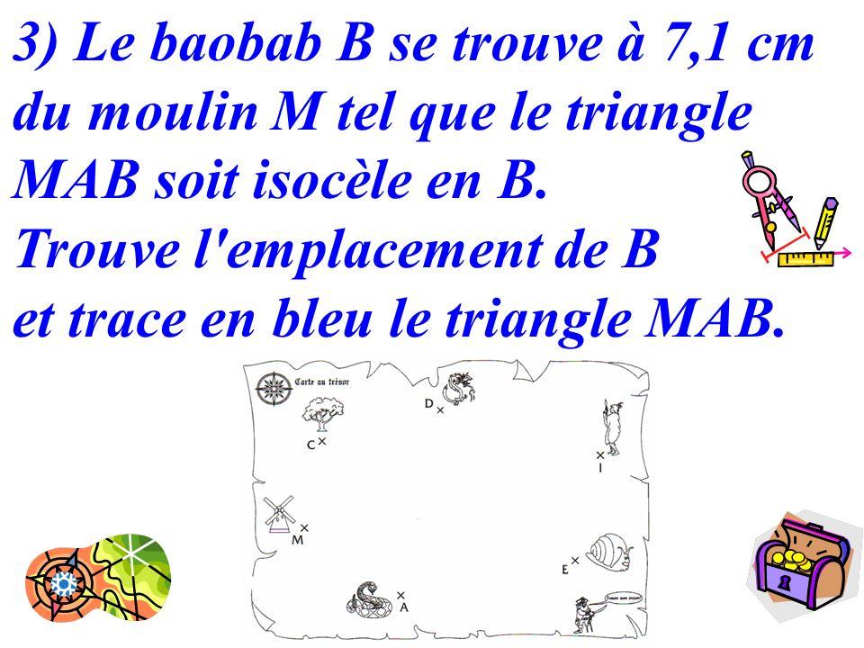 3) Le baobab B se trouve à 7,1 cm du moulin M tel que le triangle MAB soit isocèle en B.
