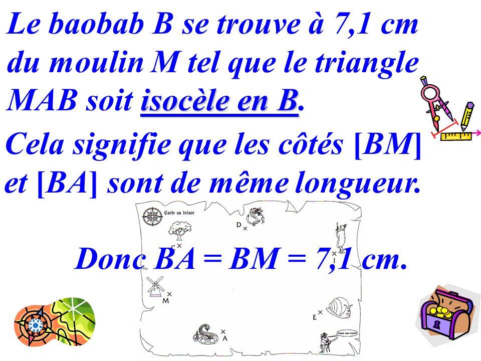 Le baobab B se trouve à 7,1 cm du moulin M tel que le triangle MAB soit isocèle en B.