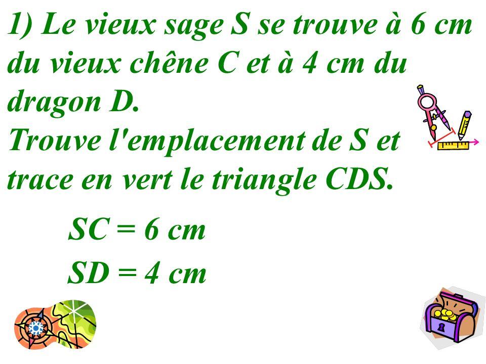 1) Le vieux sage S se trouve à 6 cm du vieux chêne C et à 4 cm du dragon D.