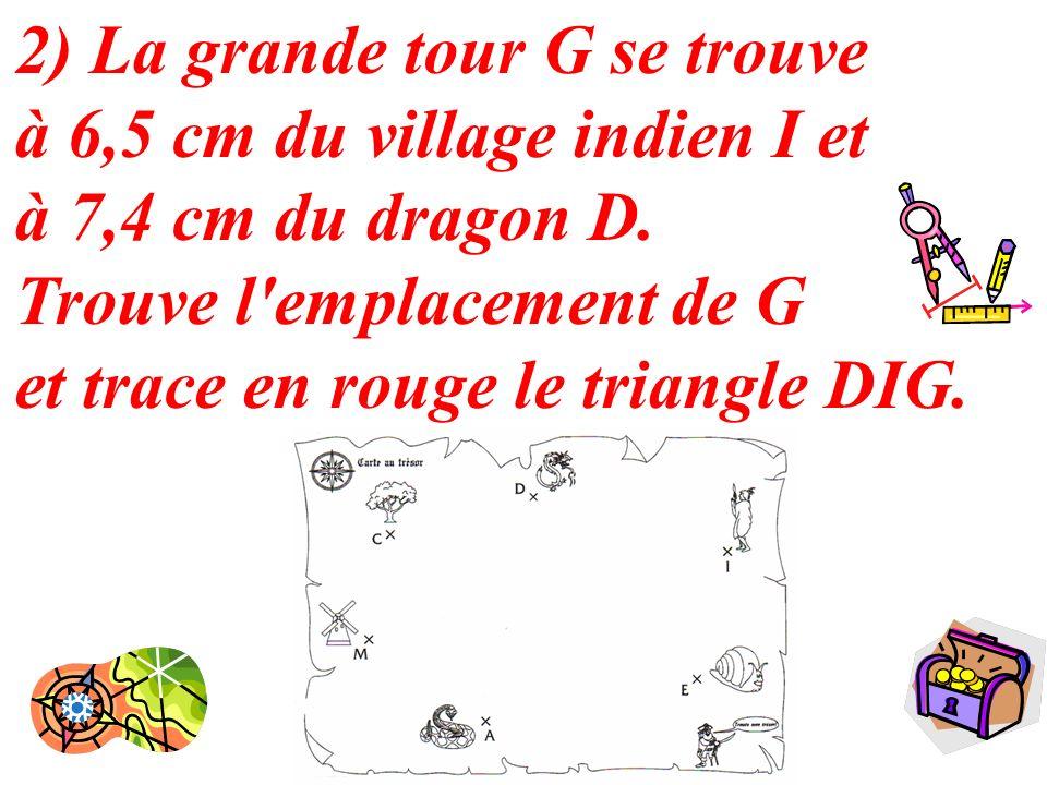 2) La grande tour G se trouve à 6,5 cm du village indien I et à 7,4 cm du dragon D.