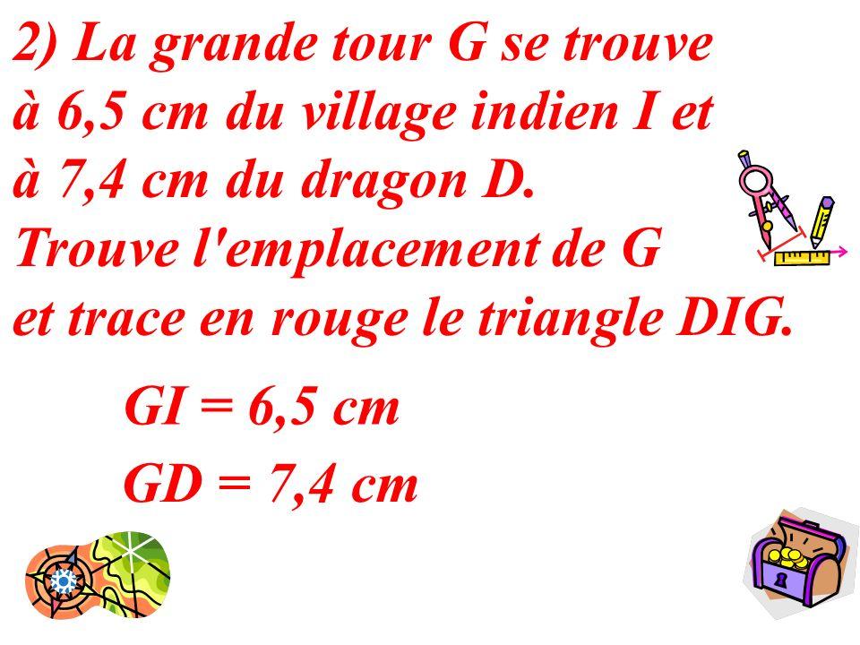 2) La grande tour G se trouve à 6,5 cm du village indien I et à 7,4 cm du dragon D. Trouve l emplacement de G et trace en rouge le triangle DIG.