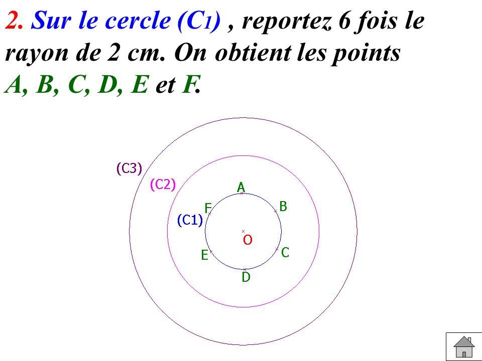 2. Sur le cercle (C1) , reportez 6 fois le