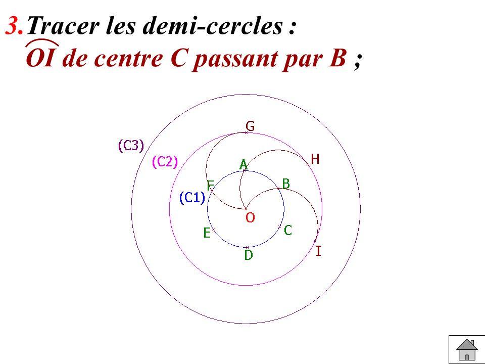 3.Tracer les demi-cercles :
