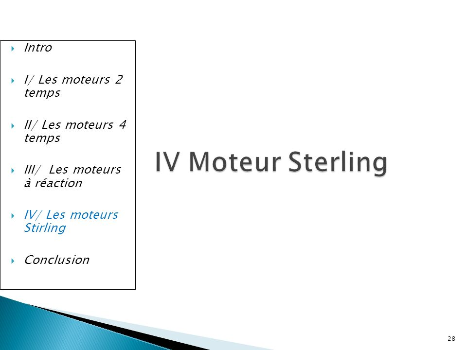 IV Moteur Sterling Intro I/ Les moteurs 2 temps