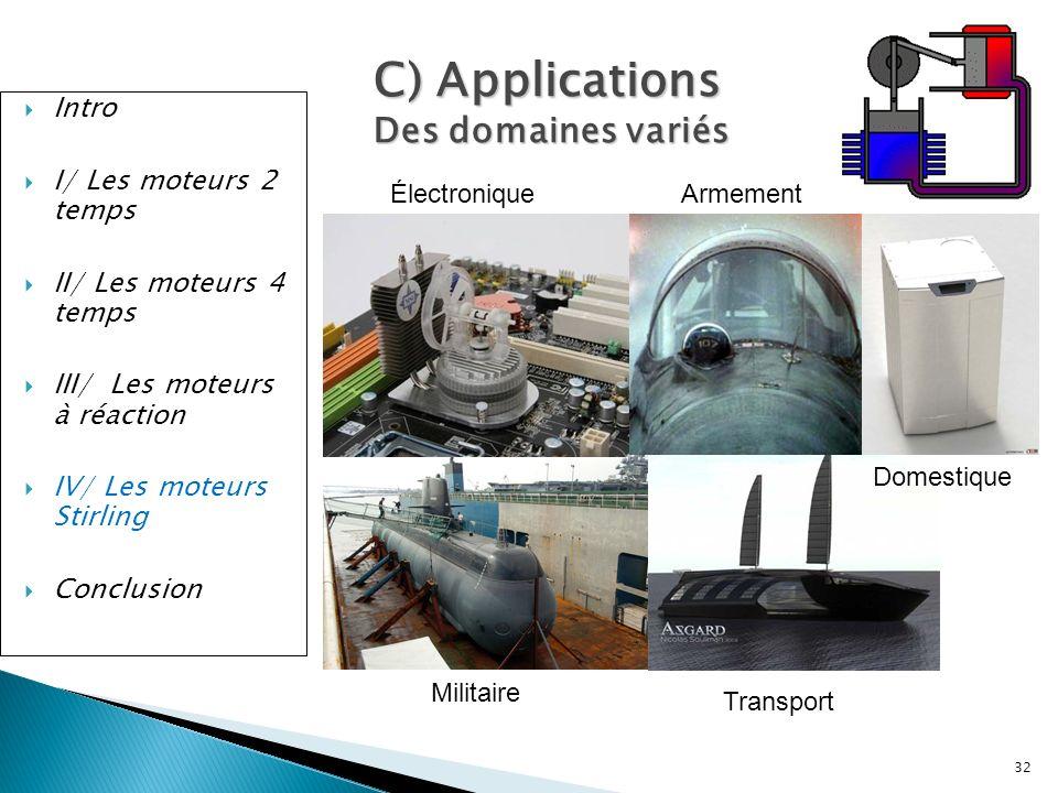 C) Applications Des domaines variés