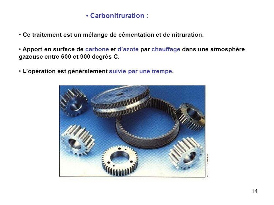 Carbonitruration : Ce traitement est un mélange de cémentation et de nitruration.