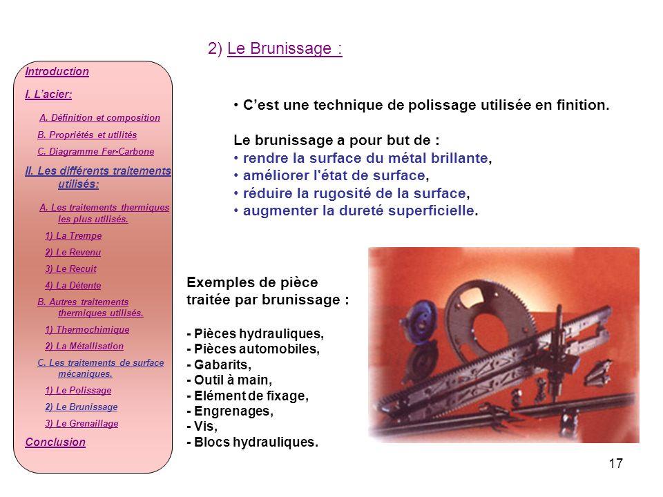2) Le Brunissage : Introduction. I. L'acier: A. Définition et composition. B. Propriétés et utilités.