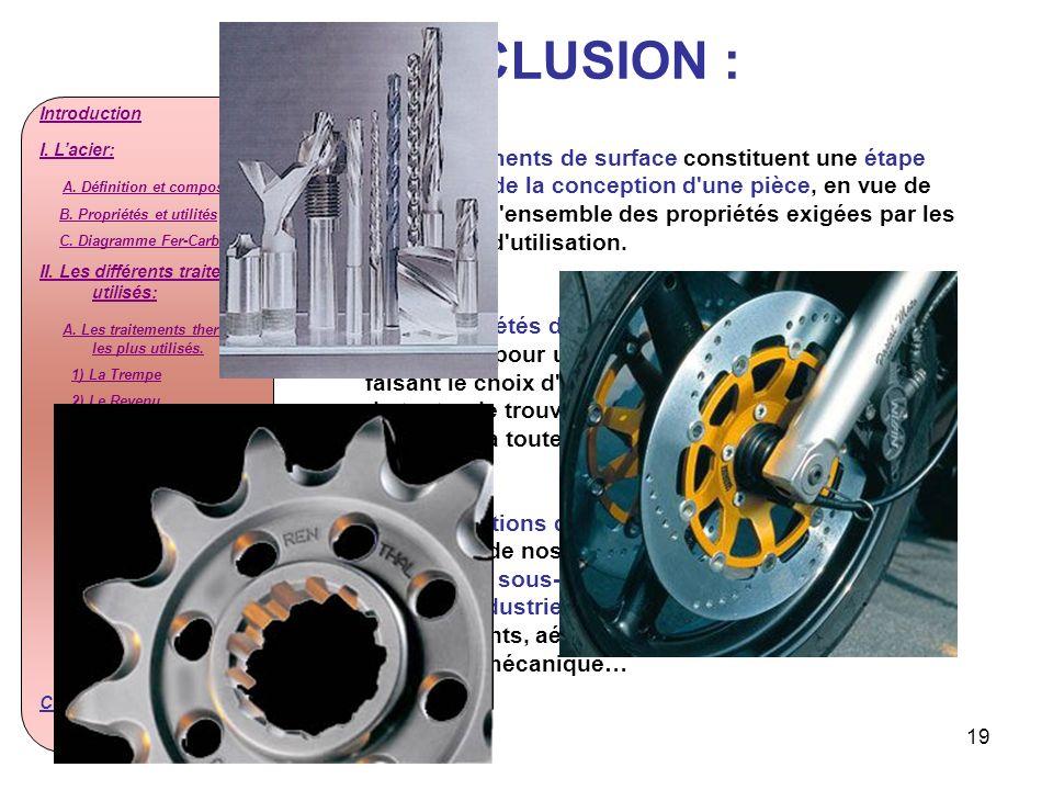 CONCLUSION :Introduction. I. L'acier: A. Définition et composition. B. Propriétés et utilités. C. Diagramme Fer-Carbone.