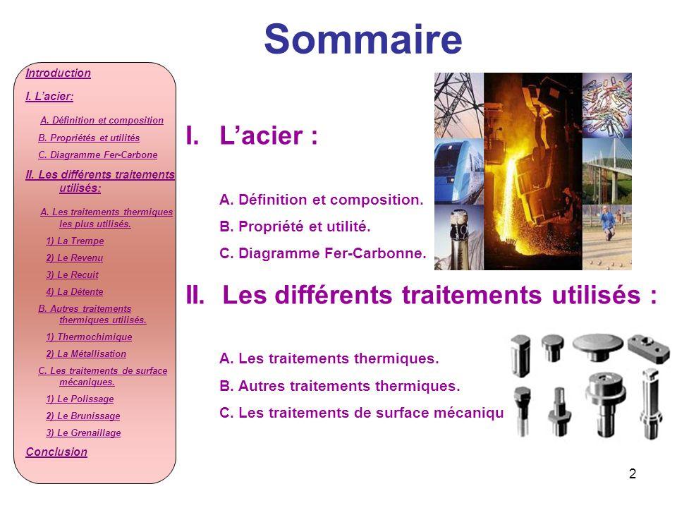 Sommaire L'acier : II. Les différents traitements utilisés :