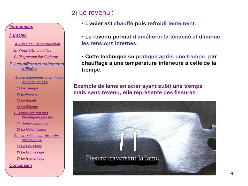 2) Le revenu : L'acier est chauffé puis refroidi lentement.