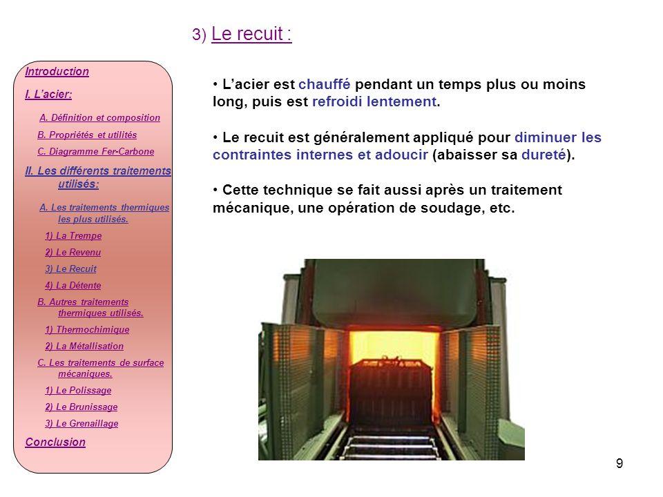 3) Le recuit :Introduction. I. L'acier: A. Définition et composition. B. Propriétés et utilités. C. Diagramme Fer-Carbone.