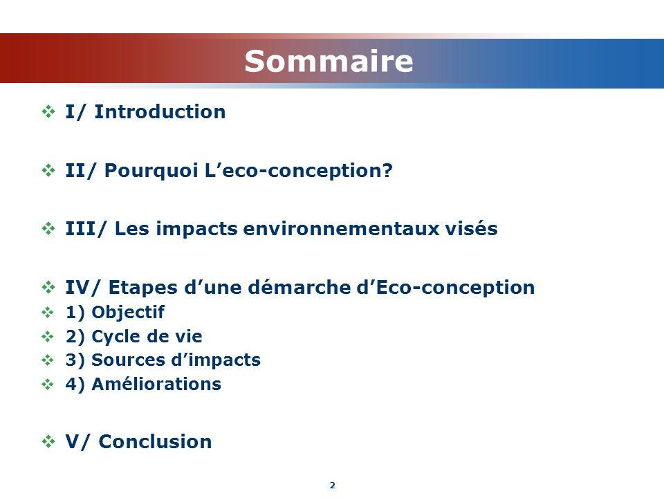 Sommaire I/ Introduction II/ Pourquoi L'eco-conception