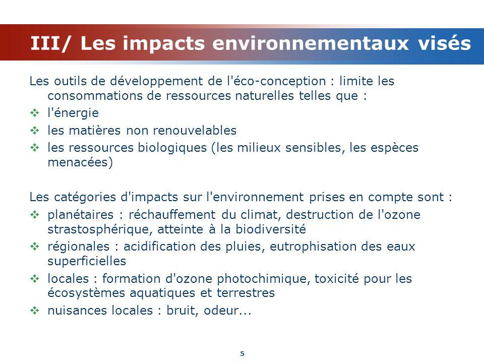 III/ Les impacts environnementaux visés