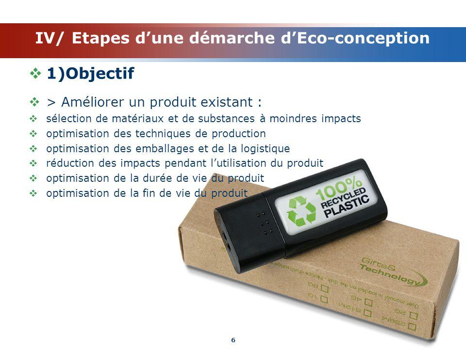 IV/ Etapes d'une démarche d'Eco-conception