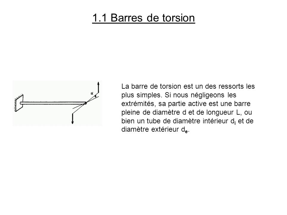 1.1 Barres de torsion
