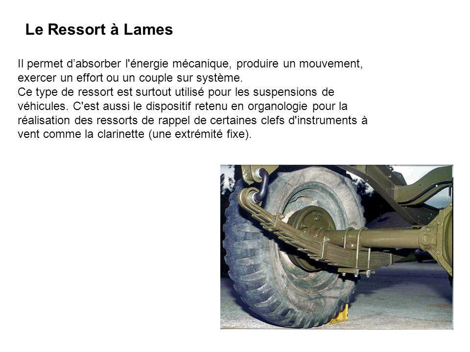 Le Ressort à Lames Il permet d'absorber l énergie mécanique, produire un mouvement, exercer un effort ou un couple sur système.