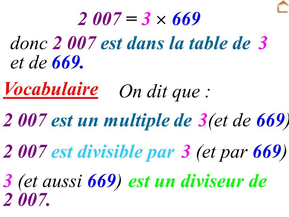 2 007 = 3  669 donc 2 007 est dans la table de. 3. et de. 669. Vocabulaire. On dit que : 2 007.