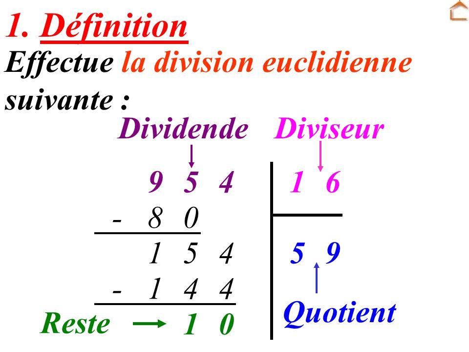 1. Définition Effectue la division euclidienne suivante : Dividende