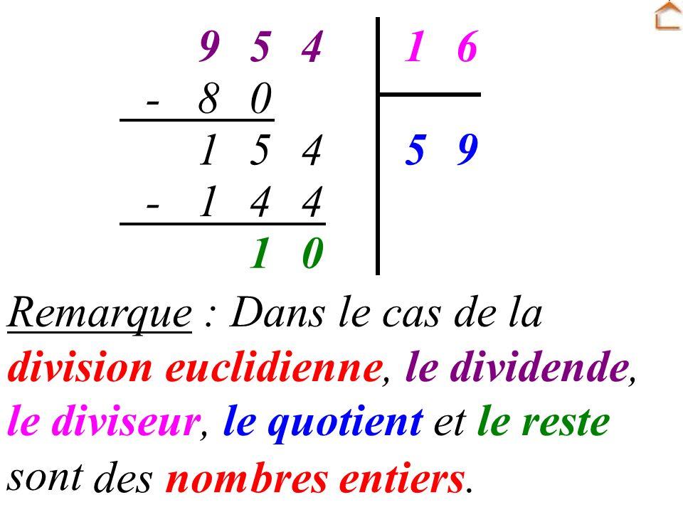 4 5. 9. 6. 1. 8. - Remarque : Dans le cas de la division euclidienne, le dividende, le diviseur, le quotient et le reste sont …