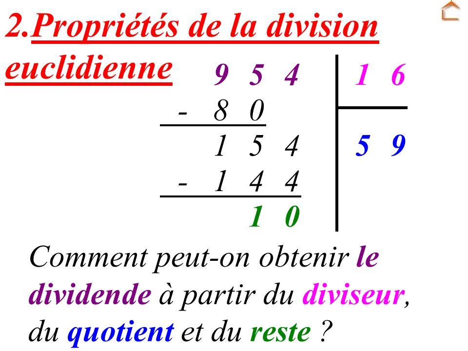 2.Propriétés de la division euclidienne