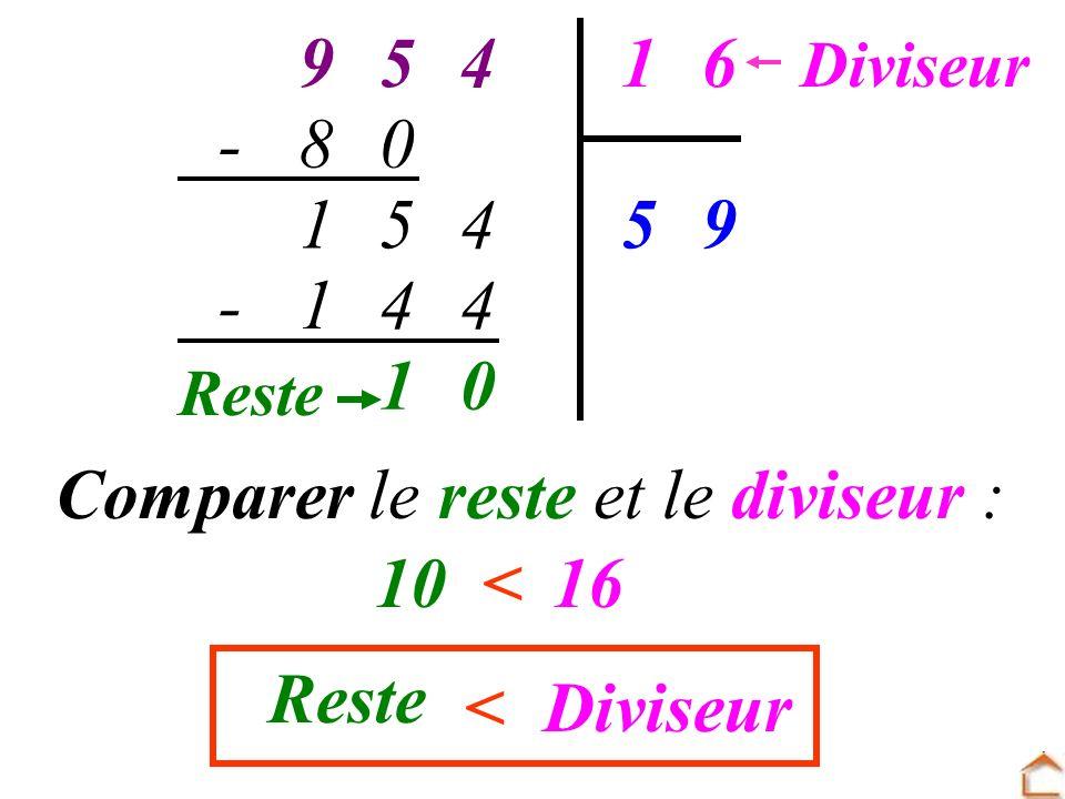 Comparer le reste et le diviseur : 10 < 16