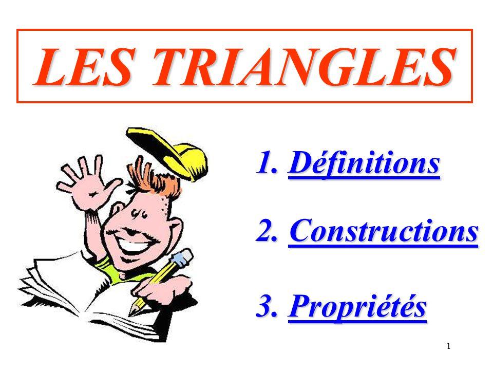 LES TRIANGLES 1. Définitions 2. Constructions 3. Propriétés