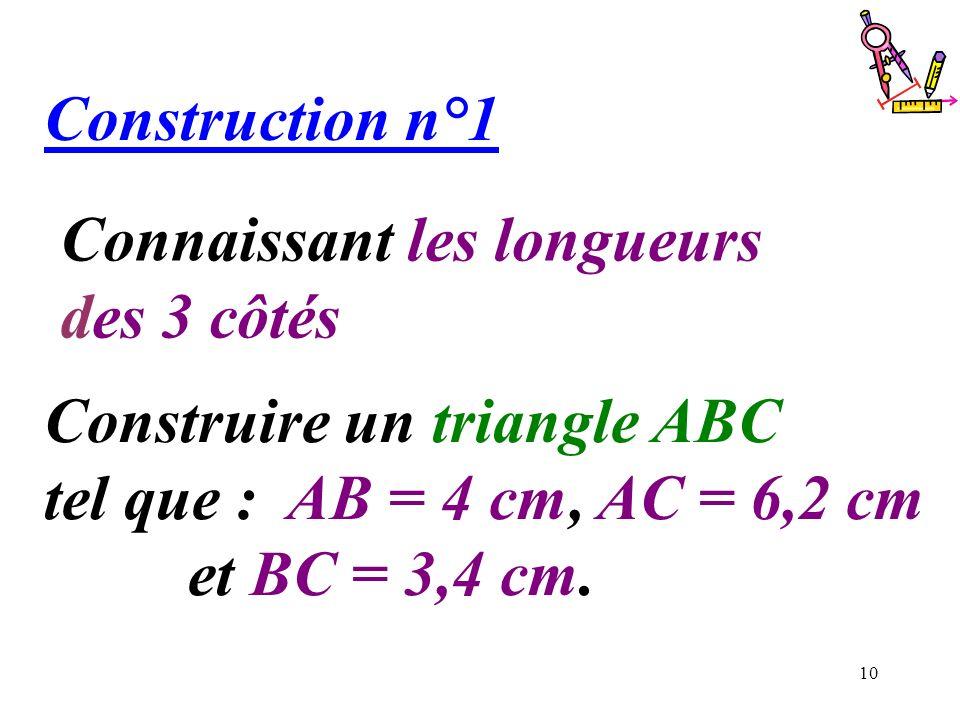 Construction n°1 Connaissant les longueurs. des 3 côtés. Construire un triangle ABC tel que : AB = 4 cm, AC = 6,2 cm.