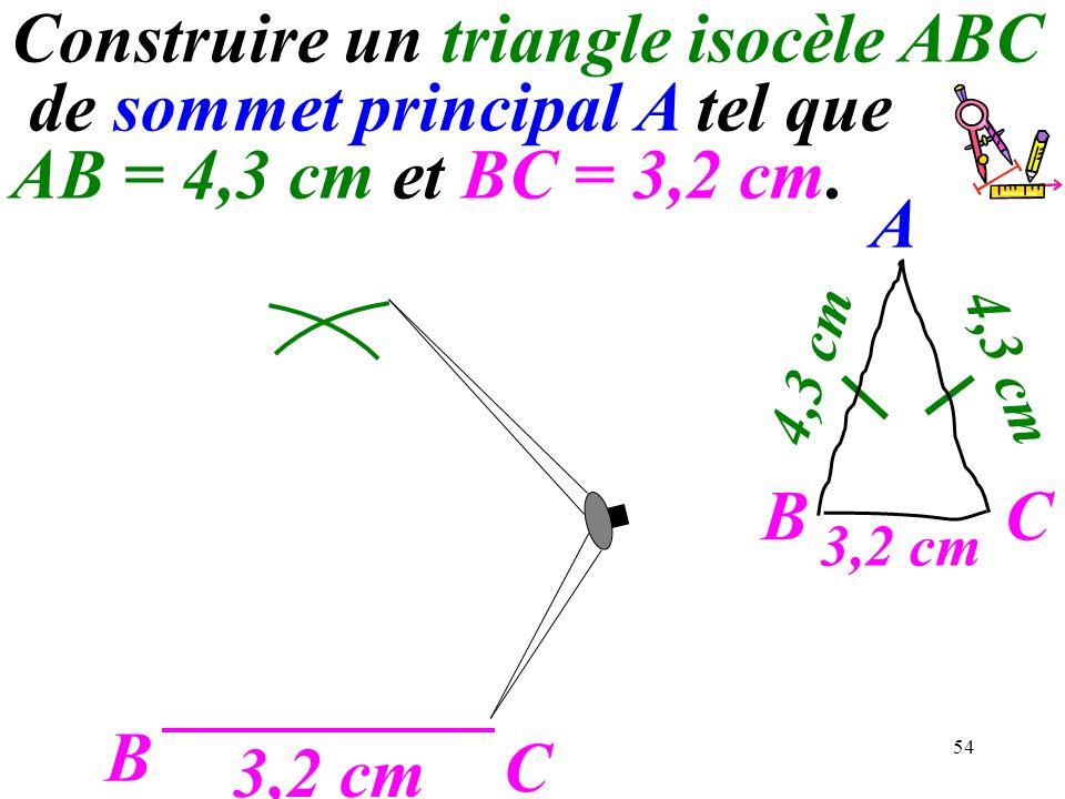 Construire un triangle isocèle ABC de sommet principal A tel que AB = 4,3 cm et BC = 3,2 cm.
