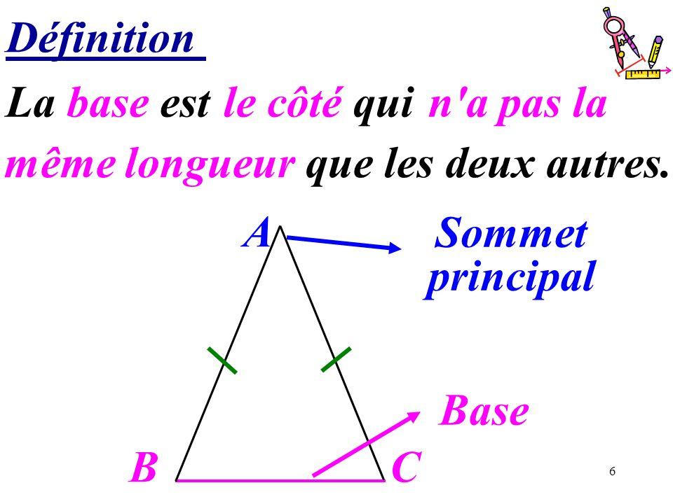 Définition La base est …………………….. le côté qui. n a pas la. même longueur que les deux autres. A.