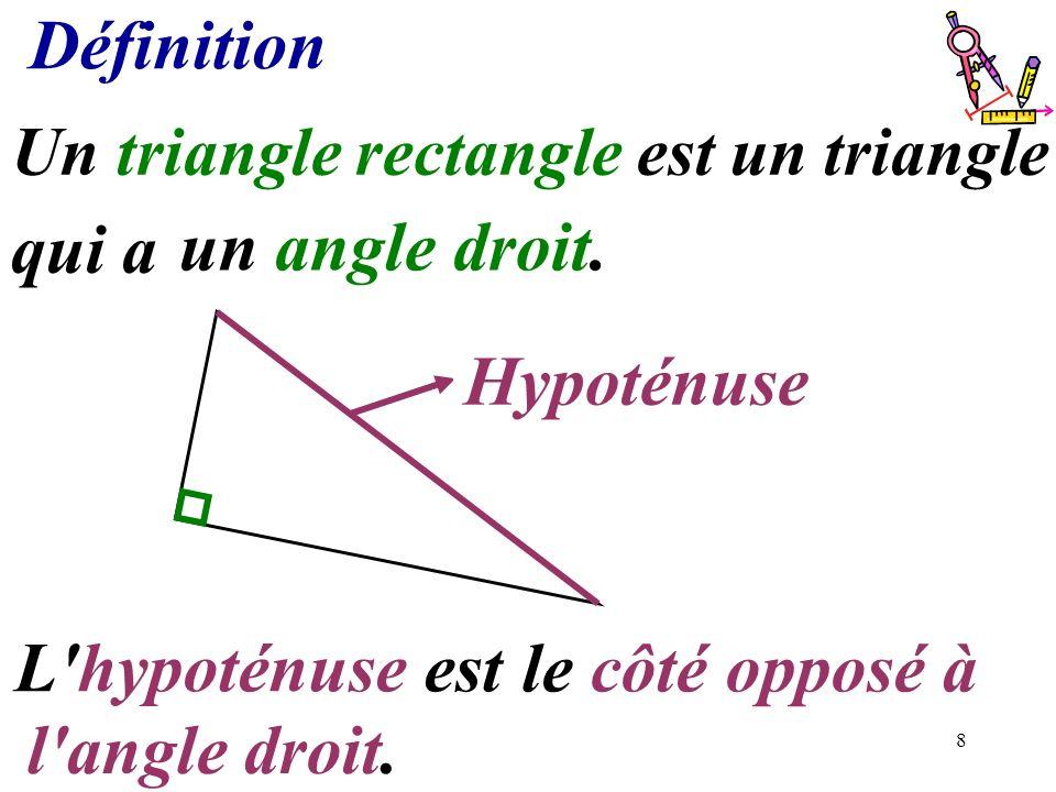 Définition qui a ....................... un angle droit. Hypoténuse