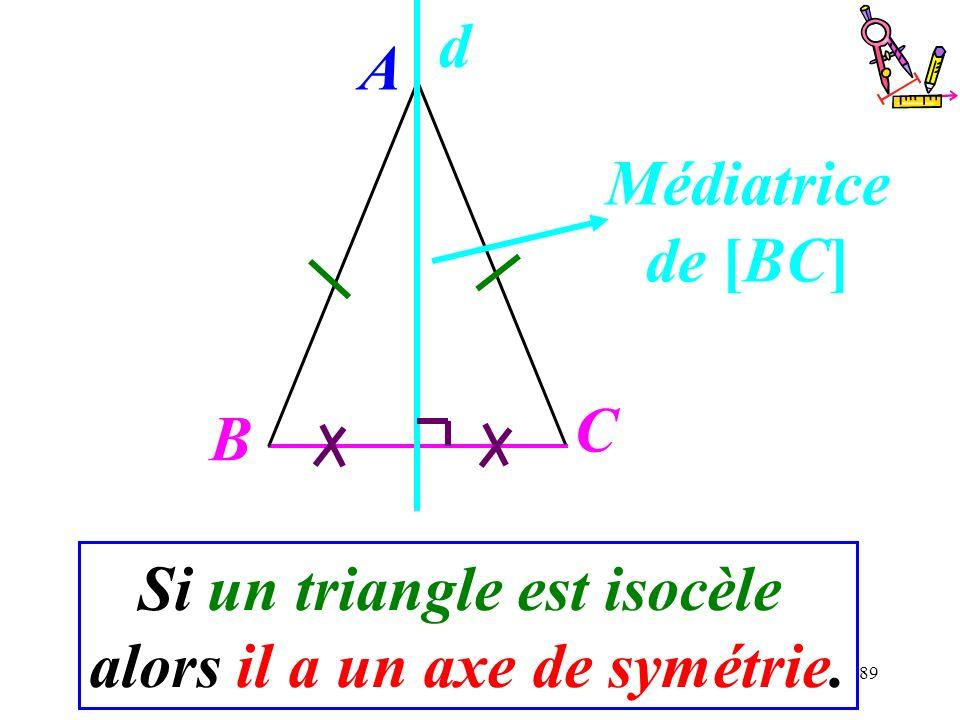 Si un triangle est isocèle alors il a un axe de symétrie.