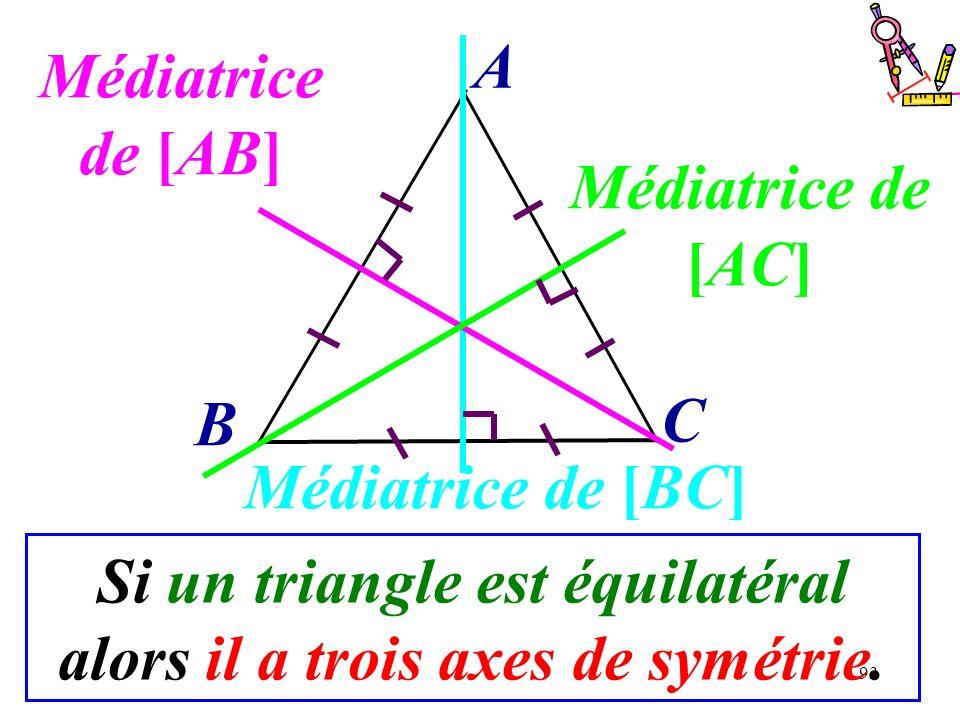 Si un triangle est équilatéral alors il a trois axes de symétrie.