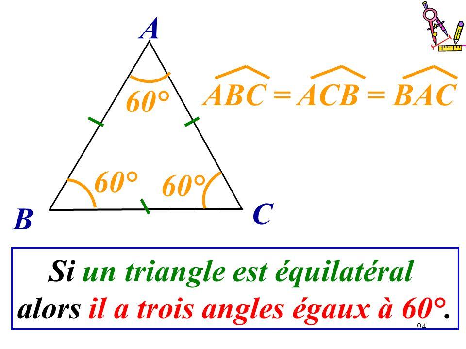 Si un triangle est équilatéral alors il a trois angles égaux à 60°.