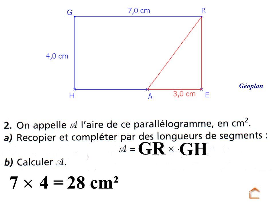 Géoplan GR GH 7  4 = 28 cm²