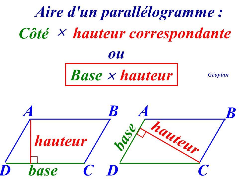 Aire d un parallélogramme : hauteur correspondante