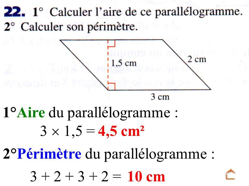 2°Périmètre du parallélogramme :