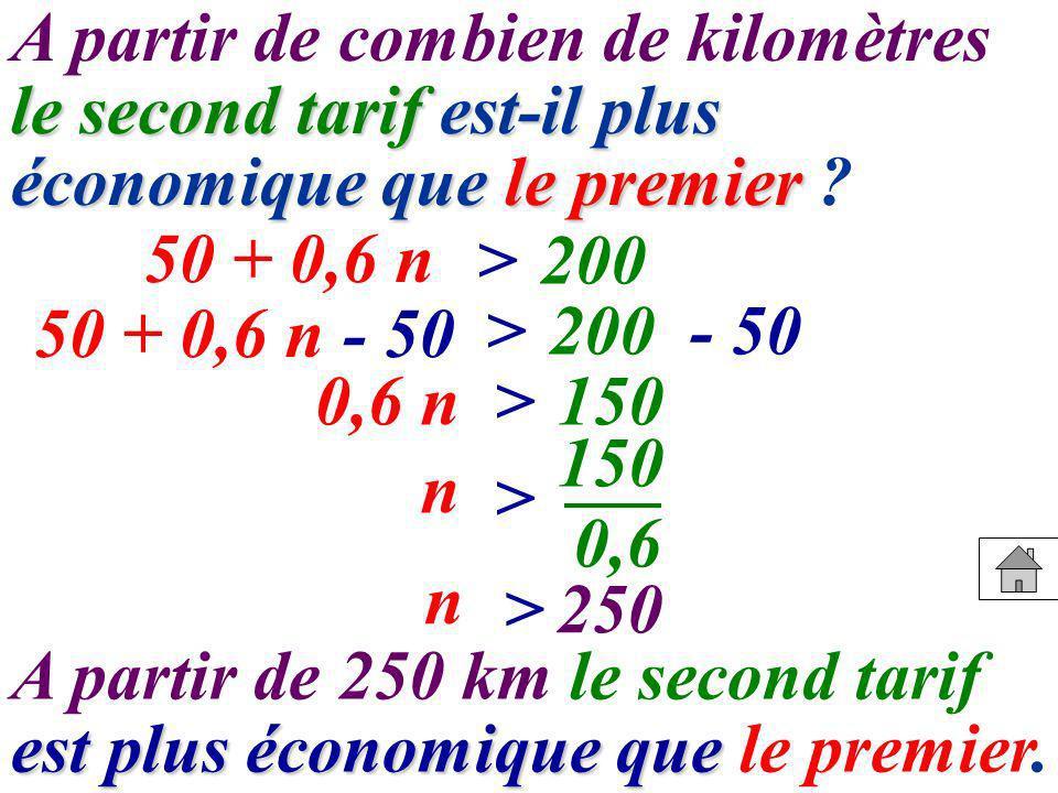 A partir de combien de kilomètres le second tarif est-il plus économique que le premier
