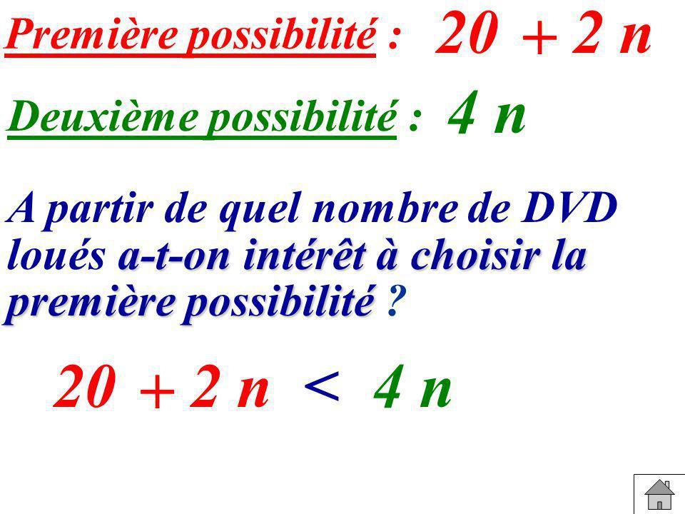 20 2 n + 4 n 20 2 n < 4 n + Première possibilité :