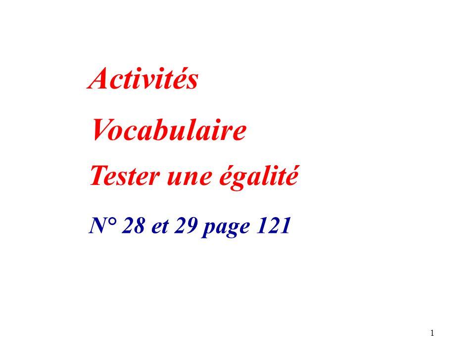 Activités Vocabulaire