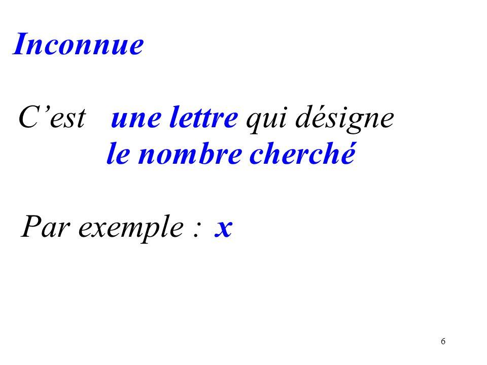 Inconnue C'est une lettre qui désigne le nombre cherché Par exemple : x