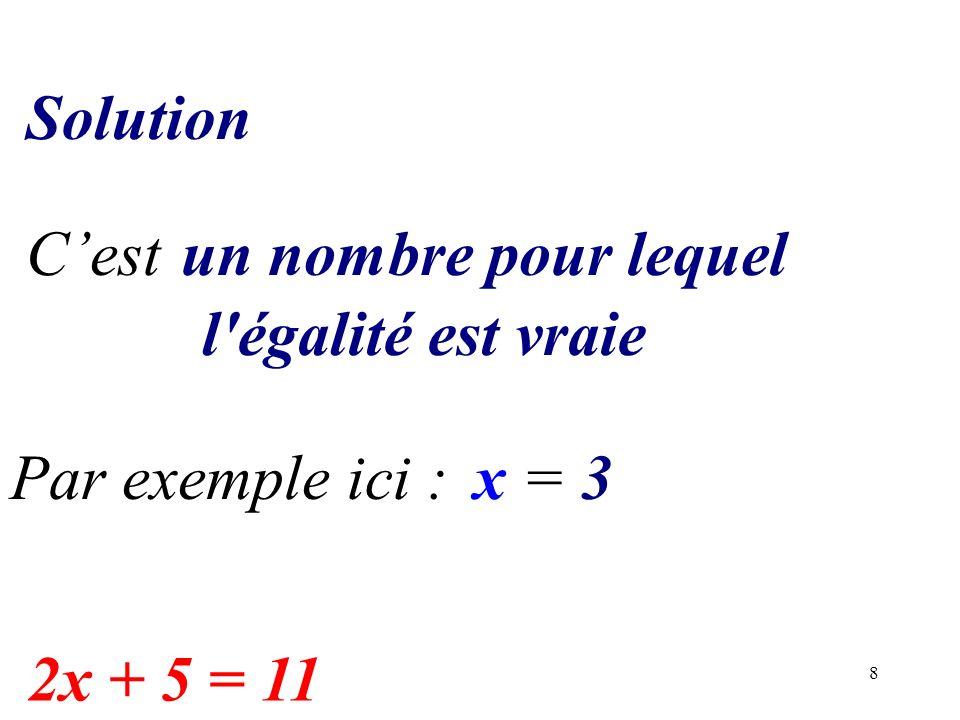 Solution C'est un nombre pour lequel l égalité est vraie Par exemple ici : x = 3 2x + 5 = 11