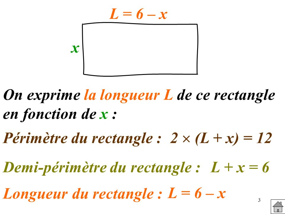 Périmètre du rectangle : Longueur du rectangle :