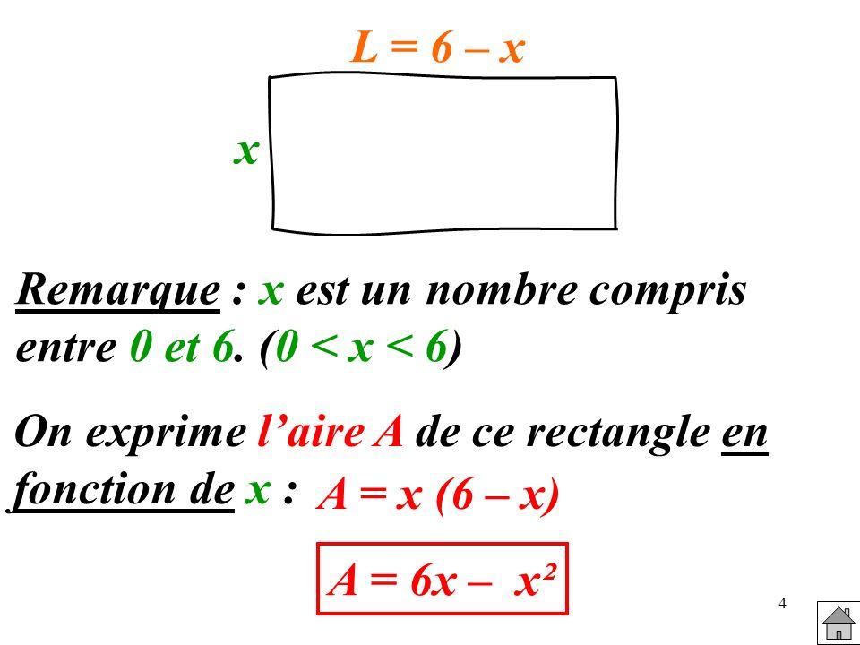 x L = 6 – x. Remarque : x est un nombre compris. entre 0 et 6. (0 < x < 6) On exprime l'aire A de ce rectangle en fonction de x :