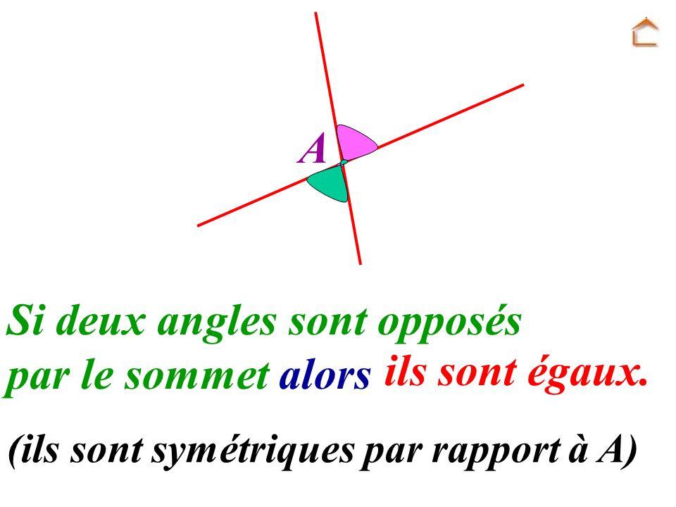Si deux angles sont opposés par le sommet alors ils sont égaux.