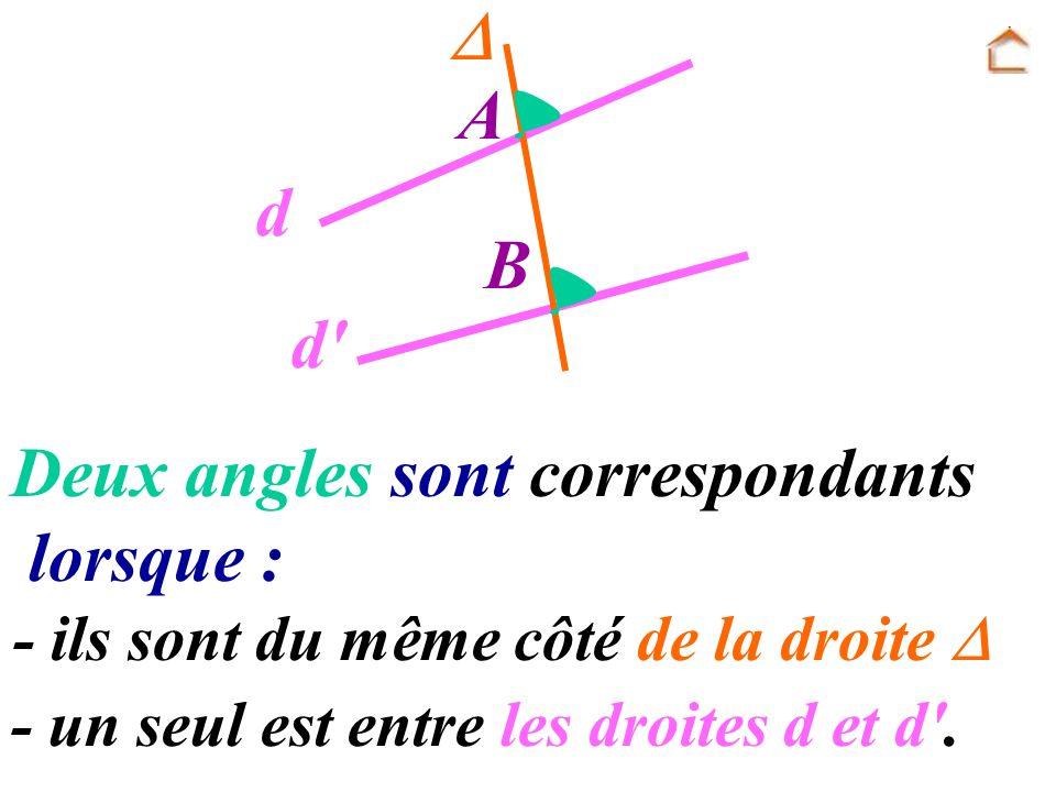 Deux angles sont correspondants lorsque :